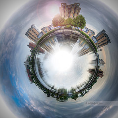 Virtual World.. (Philip R Jones) Tags: world blue photoshop manchester pano salfordquays ps panoramic planet rem vue manchesterunited oldtrafford hdr hss virtualworld polarcoordinate vuecinema polarcoordinatefilter sliderssunday