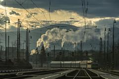 L_M_8296 (www.pomme.sk) Tags: morning chimney electric fog clouds track industrial smoke railway hills rails slovakia hils paltform stanica eleznica ruomberok eleznin