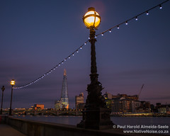 Lamp Posts and The Shard at Dusk on The South Bank, London