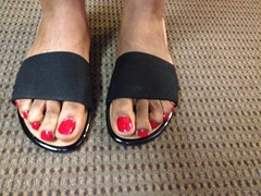 Revlon Roulette Rush nail polish (hyellow) Tags: red black cute feet toes long pretty flat sandals unique nail polish revlon