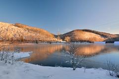Energy (impossiblejoker) Tags: blue schnee winter red lake snow water germany deutschland morninglight nikon energy wasser energie january nrw januar verse ldenscheid morgenlicht aftersunrise d7100