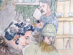 Monmouth coffee 11-02-16 (Utopist) Tags: portrait coffee watercolor cafe market monmouth watercolour borough