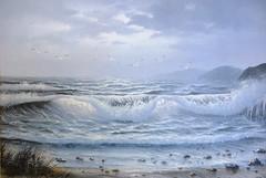 Seascape (alanpeacock2) Tags: waves seagulls sea birds seashore downbythesea foam spray painting blue seascape seaside surf thenorthsea coast northeastcoastuk seabreeze summer ozone silversea art