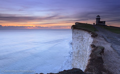Out of the Grey (JamboEastbourne) Tags: park sunset sea england cliff lighthouse downs sussex chalk south cliffs east national eastbourne belle tout