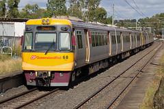 Handles (PJ Reading) Tags: old electric train rail railway australia brisbane qld queensland multiple commuter emu pax passenger qr unit qrail bne 60class wulkuraka