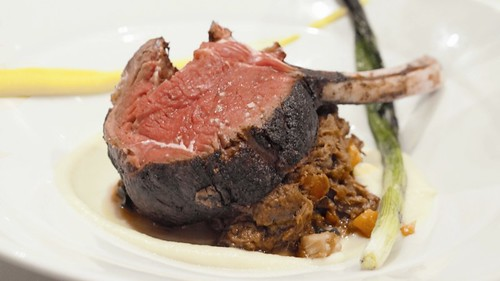 Spice ash crusted deer rack over braised shoulder and swiss chard ragu and parsnip puree