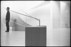 MUSEE D'ART MODERNE (j.vandergaag) Tags: blackandwhite film luxemburg kirchberg ilfordfp4 museedartmoderne yashicaelectro35gt mudamluxembourg