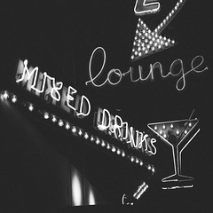 { Mixed Drinks } (Web-Betty) Tags: blackandwhite sign colorado neon denver neonsign bnw fujineopan1600 vscofilm
