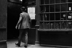 2016-03-05: Bell Court (psyxjaw) Tags: city man london hat umbrella quiet weekend walk empty saturday tie suit bowlerhat worker recreation past reenactment cityoflondon londonist
