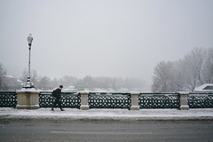 Strada invernale -  Winter road. (sinetempore) Tags: street bridge winter woman snow girl torino donna streetlamp ponte neve inverno turin lampione winterroad stradainvernale