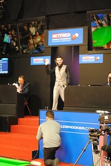 Mark Selby makes his entrance (zawtowers) Tags: world music championship jester theatre mark walk leicester sheffield first arena round tuesday april snooker entering 19th kasabian crucible 2016 selby betfred thehomeofsnooker