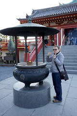 Leena purifying herself with insense in front of the Kiyomizu Kannon Temple (pennykaplan) Tags: japan temple tokyo kiyomizu leena uenopark kannon