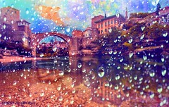 Rainy Day (... Knight Production ...) Tags: new old bridge pink sky lake reflection bird art me water river outside scenery arch rainyday view outdoor scenic cable drop raindrops knight production raining outandabout waterreflection cableknight knightproduction