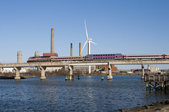 Draw 7 Afternoon (II) (imartin92) Tags: bridge plant train river power wind massachusetts rail line smokestack somerville commuter locomotive passenger mbta turbine mystic everett rockport emd massachusettsbaytransportationauthority gp40mc