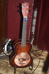 Guitars, Ukuleles, etc. [Necked Box Lutes played with Hands] 106: Resonator Ukulele (of Tif Ginn) (KM's Live Music shots) Tags: ukulele musicalinstrument fredeaglesmith greennote resonatorukulele chordophone hornbostelsachs tifginn