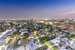 Above Bangkok (huwpenson) Tags: life city light sunset urban streets night thailand lights asia soft view time dusk bangkok busy thai th bkk