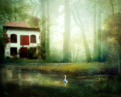 """Spooky house or """"The Ugly Duckling"""" (BirgittaSjostedt.) Tags: house lake texture fairytale forest landscape paint magic creation fantasy mysterious spoky magicunicornverybest birgittasjostedt"""