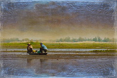 Fishing in the Marsh (ulli_p) Tags: light people lake reflection art texture nature rural landscape thailand boat fishing asia colours textured isan lakescape likeapainting amazingcolours aworkofart flickraward texturedphoto ruralthailand awardtree artofimages exoticimage canoneoskissx5