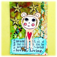 ATC Agatha  - Lovable (Stampinkie) Tags: atc artisttradingcard agatha rubberstamping stampotique