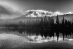 2015_10-BW-Mt-Rainier-Reflection-Lake-2-copy-2 (Markus Gltzow) Tags: mountain reflection sunrise landscape nikon outdoor mount rainier vulcano