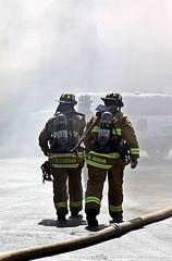 ENTERING THE SMOKE ZONE (Darkmoon Photography) Tags: oklahoma truck fire apartment smoke smoking firetruck flame damage firemen okc oklahomacity finest
