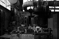 the.worker (jonathancastellino) Tags: leica ontario abandoned architecture work table ruins industrial power decay ngc pipes pipe hamilton ruin traces m machinery summicron labour worker pegs peg derelict