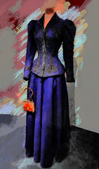 Mary Popped In (Steve Taylor (Photography)) Tags: uk greatbritain england london art texture mannequin fashion museum digital fun clothing purple unitedkingdom waist va gb mauve marypoppins bustle slender victoriaandalbert puffed bustled