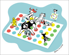 Dogs Playing Twister (lili.chin) Tags: dogs bostonterrier games pitbull twister toyfoxterrier ratterrier coonhound alaskanmalamute redtickcoonhound partygames pitbullterrier carolinadog lilichin americandogs cuteeveryday