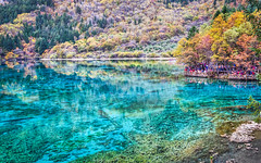 Jiuzhaigou - Multicoloured Lake 3 (Sarmu) Tags: china wallpaper mountain lake tree nature landscape highresolution view outdoor widescreen unesco worldheritagesite 1600 highdefinition resolution 1200 aba hd wallpapers  sichuan  jiuzhaigou hdr 1920 ws 1080 1050 720p  1080p 2015 1680 720 digitalblending 2560   sarmu multicolouredlake