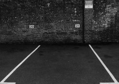 (lozmcmanus) Tags: street england blackandwhite abstract abandoned lines k work canon dark town shadows gloomy angle pentax accident space parking business ugly straight society parallel desolated