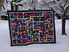 """Unterwegs..."" / ""On one's way"" (Erika.de) Tags: quilt decke patchwork tokyosubwaymapquilt"