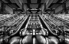 The Temple of Escalators ;-) , Tokyo (Masahiko Kuroki (a.k.a miyabean)) Tags: bw noiretblanc escalator エスカレーター 有楽町マリオン fujixe1 xf1024mm