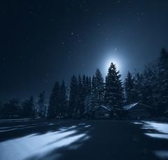 Barns Under The Moonlight (Joni Niemel) Tags: blue trees winter sky moon snow cold night barn stars shadows barns moonlit astrophotography moonlight magical toend