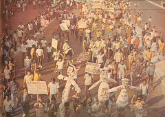 Placard-waving student demonstrators on the way to Plaza Miranda. (Presidential Museum and Library) Tags: martiallaw