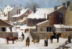 Francis Guy, Winter Scene in Brooklyn (detail), 1820 (profzucker) Tags: street city nyc newyorkcity winter snow newyork guy art brooklyn painting landscape dock cityscape american coal sleigh federalist stanns 1820 americanart saintannschurch francisguy