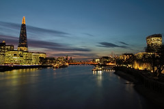 View From Tower Bridge (Rancidpunk04) Tags: city longexposure sunset london water towerbridge river landscape shard riverthames