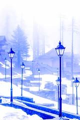 Lamp post (D+J+) Tags: road blue trees sunset mist snow mountains nature lamp beautiful fog hotel heaven post lamppost kashmir khyber dallake gulmarg
