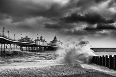 Storm (Eddie Hyde) Tags: storm beach monochrome sussex pier eastbourne imogen