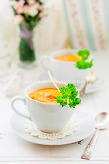 Cream Carrot Soup in a Cup (dolphy_tv) Tags: autumn food orange white fall cup kitchen yellow cheese dinner pumpkin table lunch pepper cuisine soup ginger leaf mashed healthy colorful dish starter seasonal harvest cream tasty spoon vegetable delicious potato homemade meal squash vegetarian carrot mug brunch appetizer portion diet parsley thick butternut puree creamy vegetablesoup carrotsoup potatosoup creamsoup