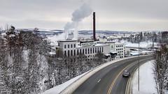 The industry of Gjvik (Risvik_93) Tags: winter urban snow landscape highway smoke gjvik