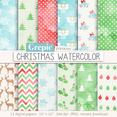 """Christmas digital paper: """"CHRISTMAS WATERCOLOR"""" backgrounds, hand drawn christmas backgrounds, painted christmas, x-mas, holidays, patterns (workyourart) Tags: christmas xmas trees digital watercolor paper holidays hand patterns painted textures angels backgrounds watercolour drawn"""