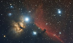 Horsehead and Flame (IC434 NGC2024) mini workflow. DSLR Image (kees scherer) Tags: nevel nebel astro nebula astrophotography ha horsehead halpha paardekop paardenkop paardenhoofd astrometrydotnet:status=solved paardehoofd astrometrydotnet:id=nova1455871