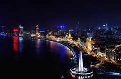 View from Vue II (Rebecca Ang (AWAY)) Tags: china city skyline architecture night twilight cityscape shanghai aerial historical bluehour thebund thebluehour puxi huangpuriver rebeccaang vuebar viewfromvue