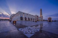 Imam Muhammad ibn Abd al-Wahhab Mosque (Ashraf Khunduqji) Tags: blue sunset sky architecture clouds nikon outdoor islam faith wideangle mosque abd muhammad doha qatar ibn imam 14mm d810 alwahhab
