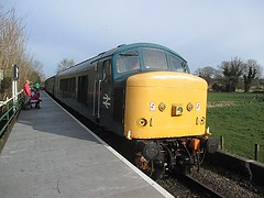 45133 arrives at Wymondham Abbey, MNR Mid-Norfolk Railway Diesel Gala 01.04.16 (Trevor Bruford) Tags: blue heritage abbey train br diesel centre 4 peak railway class 451 type locomotive 40 society gala midland preservation mrc wymondham sulzer mnr butterley d40 midnorfolk 45133