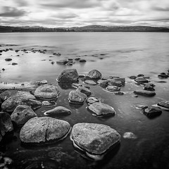 Lochindorb 10 Stop Long Exposure (amcgdesigns) Tags: longexposure blackandwhite water monochrome square landscape mono scotland rocks scottish lochindorb silverefex 10stopfilter andrewmcgavin eos7dmk2