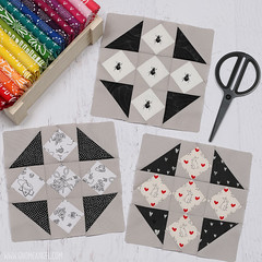 gnomeangel-crossroads-quiltalong-diamond-blocks (gnomeangel) Tags: white black modern quilt quilting patchwork crossroads fatquartershop gnomeangel crossroadsquiltalong crossroadsqal