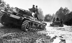 Two German Panzerkampfwagen III medium tanks cross a river somewhere in Southern Russia, 1942