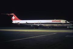 HB-IDP  DC-9-32  Swissair (n707pm) Tags: ireland airplane airport nightshot aircraft slide scan airline douglas dub dublinairport dc9 dc932 eidw hbidp 071983 cn47523