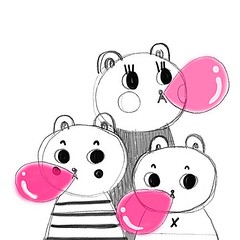 Bubble gum (Andrea Kang) Tags: pink cute illustration gum sketch candy drawing bears bubbles sketchbook bubble bubblegum andreakang instagram ifttt
